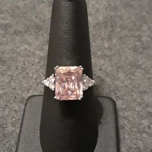 Sterling silver pink and white CZ ring size 9